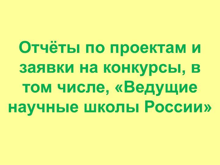 Отчёты по проектам и заявки на конкурсы, в том числе, «Ведущие научные школы России»