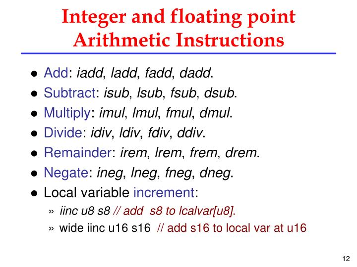 Integer and floating point