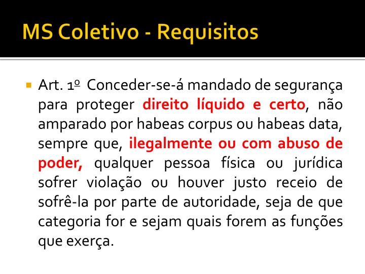 MS Coletivo - Requisitos