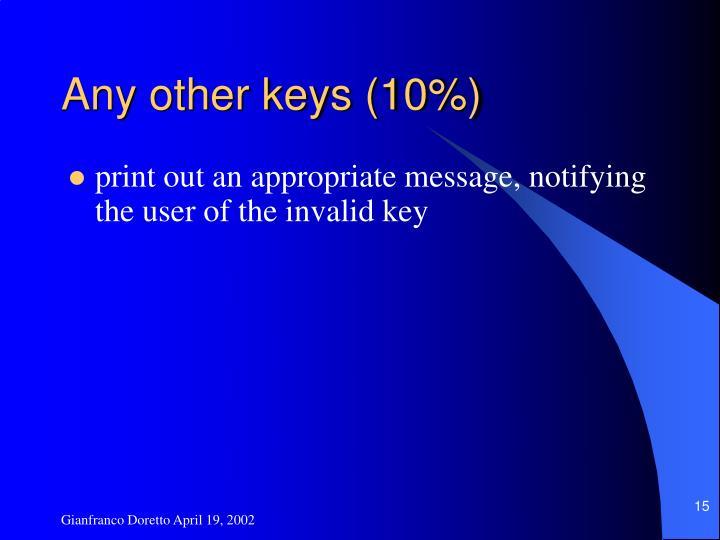 Any other keys (10%)
