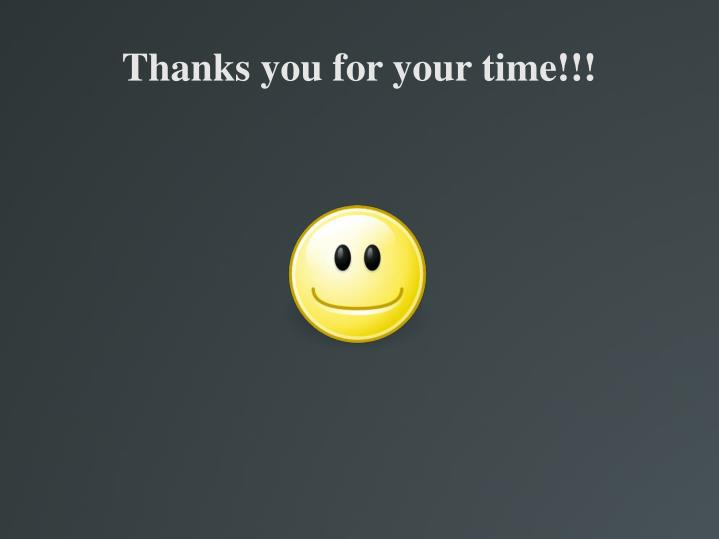 Thanks you for your time!!!