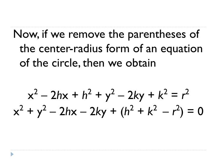 Now, if we remove the parentheses of the center-radius form of an equation of the circle, then we obtain