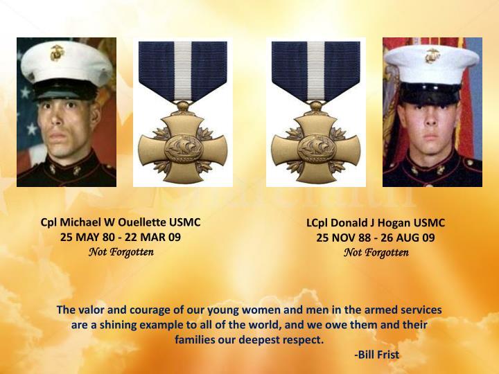 Cpl Michael W Ouellette USMC