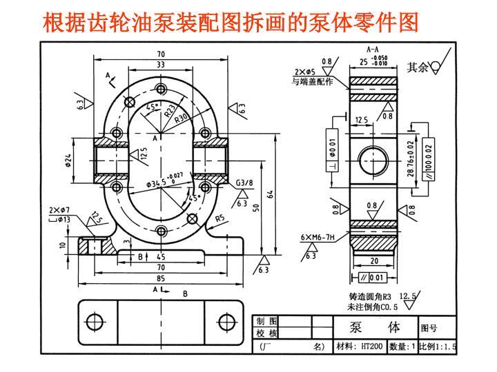根据齿轮油泵装配图拆画的泵体零件图
