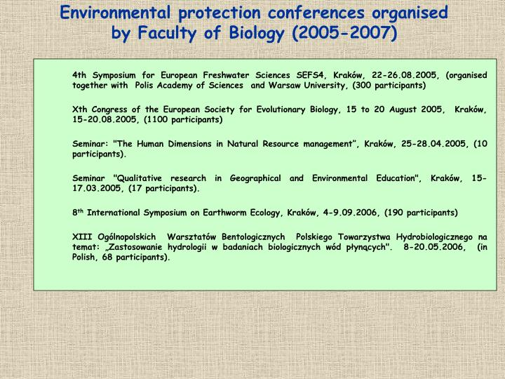 Environmental protection conferences organised by Faculty of