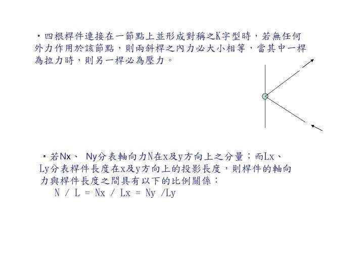 四根桿件連接在一節點上並形成對稱之