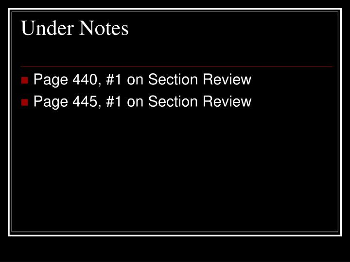 Under Notes