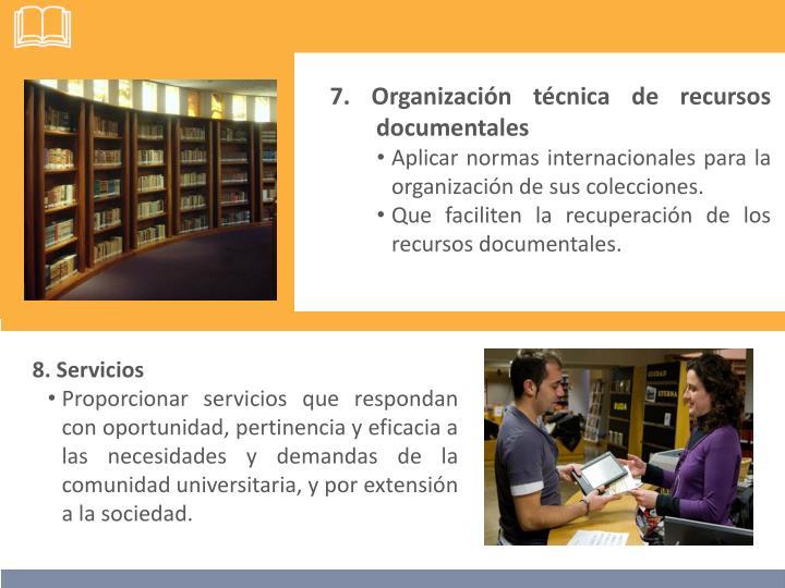 7. Organización técnica de recursos documentales