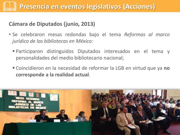 Presencia en eventos legislativos (Acciones)