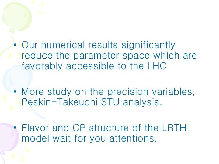 Our numerical results significantly reduce the parameter space which are favorably accessible to the LHC