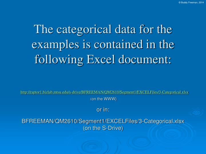 The categorical data for the examples is contained in the following Excel document: