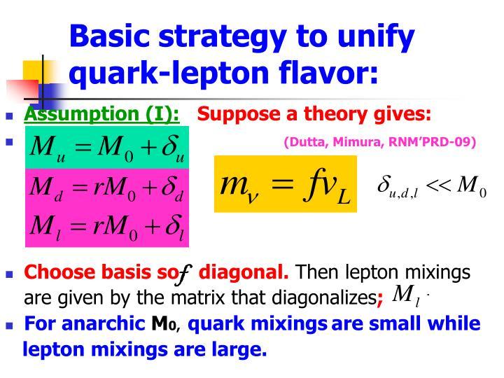 Basic strategy to unify quark-lepton flavor: