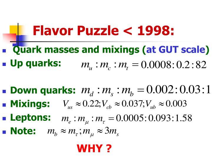 Flavor Puzzle < 1998: