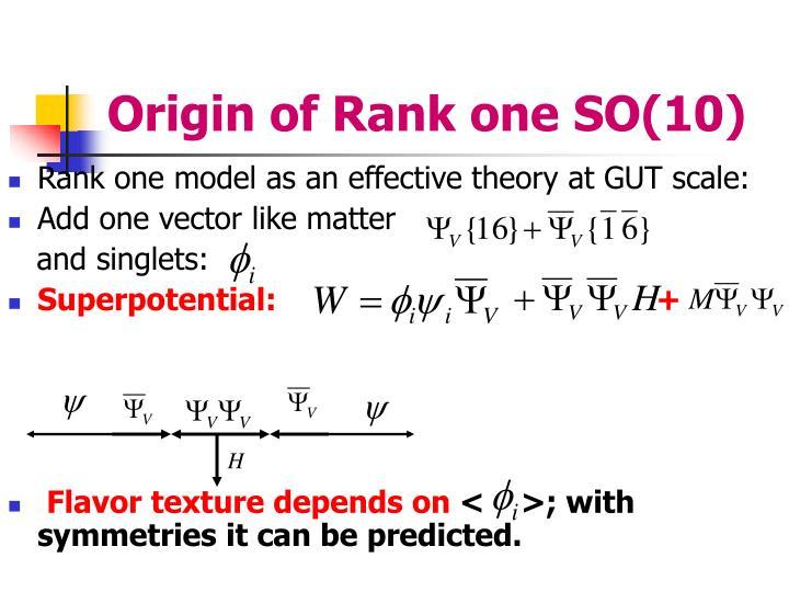 Origin of Rank one SO(10)