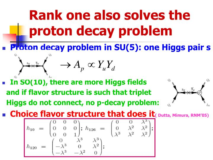 Rank one also solves the proton decay problem