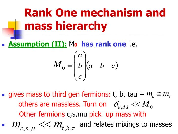 Rank One mechanism and mass hierarchy