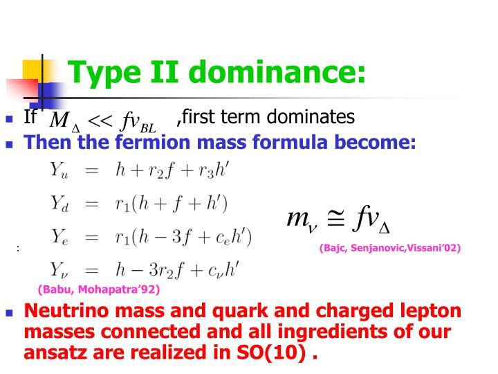 Type II dominance: