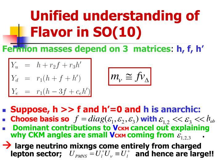 Unified understanding of Flavor in SO(10)