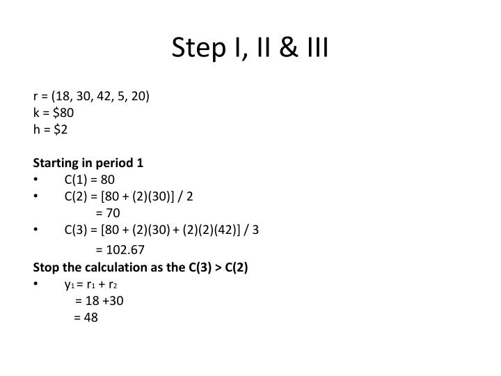 Step I, II & III
