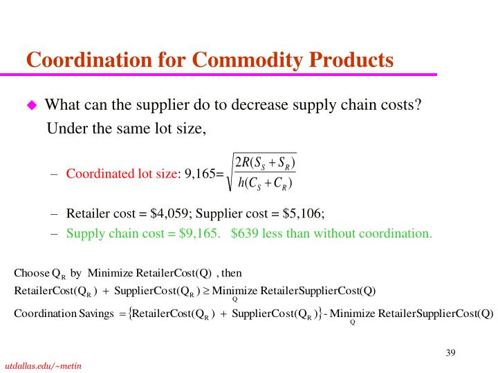 Coordination for Commodity Products