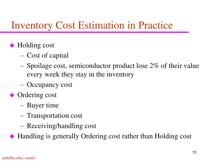 Inventory Cost Estimation in Practice