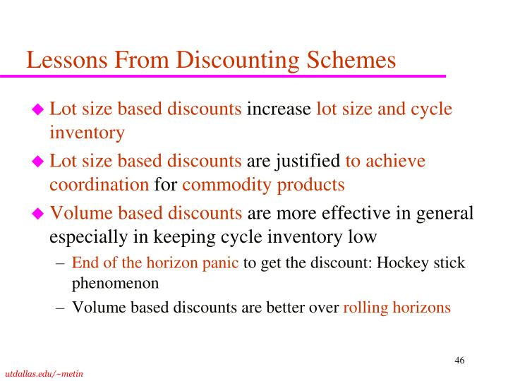 Lessons From Discounting Schemes