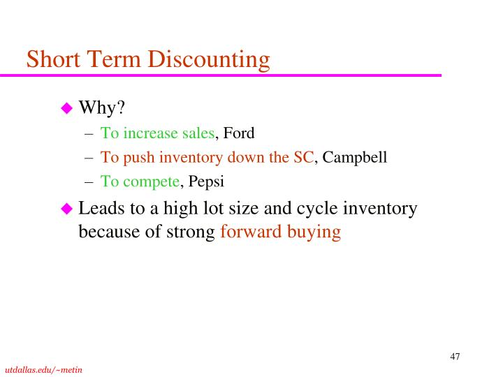 Short Term Discounting
