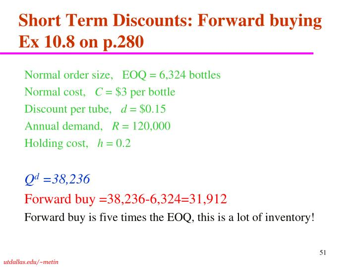 Short Term Discounts: Forward buying