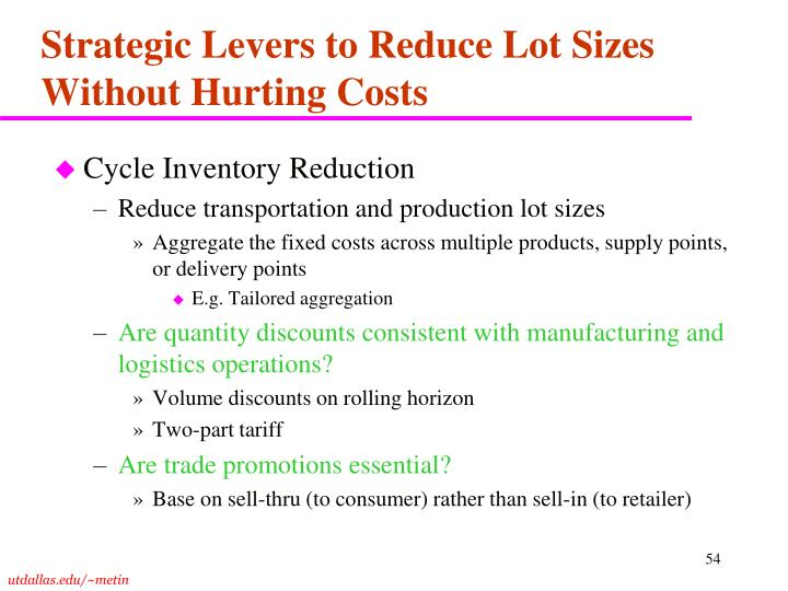 Strategic Levers to Reduce Lot Sizes Without Hurting Costs
