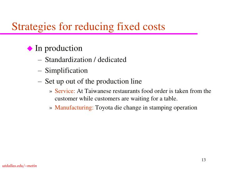 Strategies for reducing fixed costs