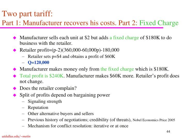 Two part tariff: