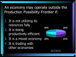 an economy may operate outside the production possibility frontier if