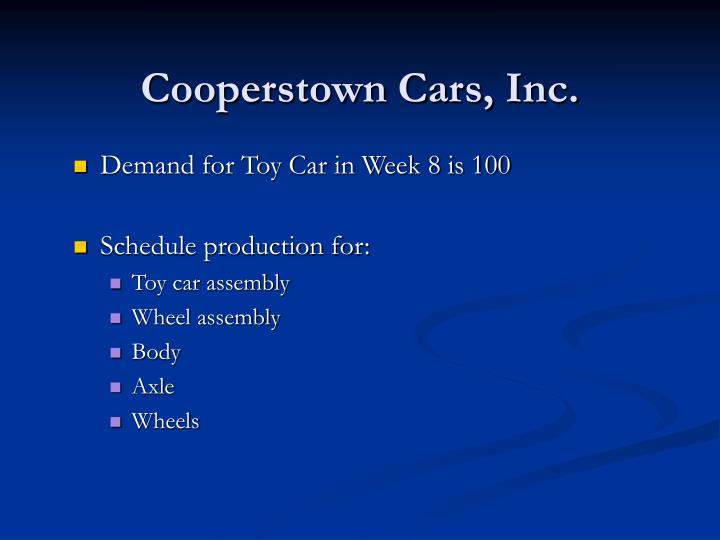 Cooperstown Cars, Inc.