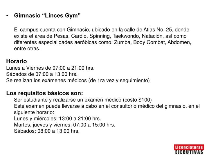 "Gimnasio ""Linces Gym"""