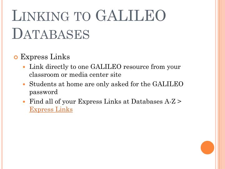 Linking to GALILEO