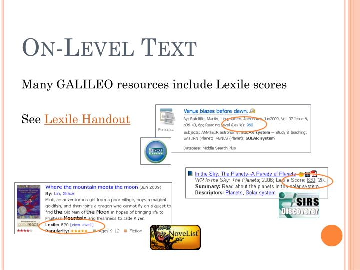 On-Level Text