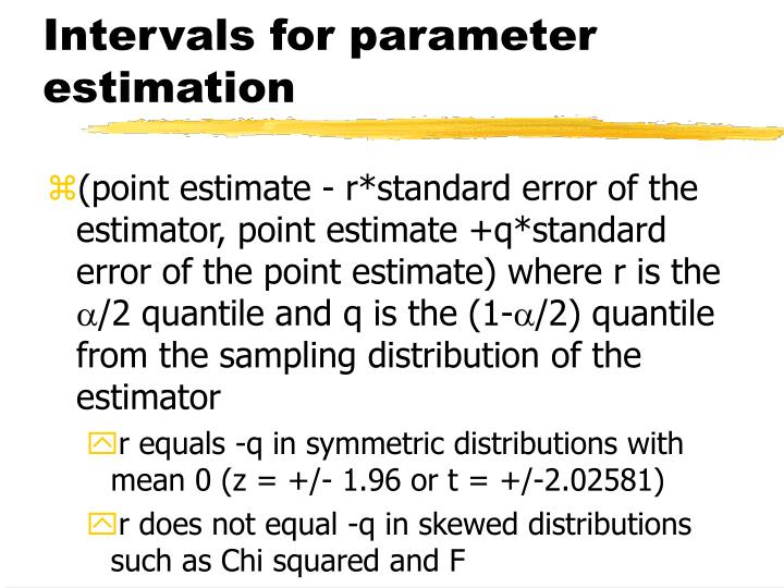Intervals for parameter estimation