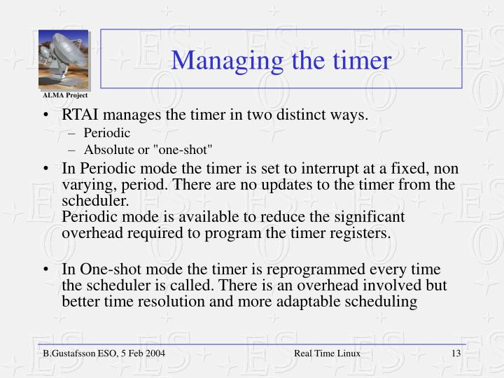 Managing the timer