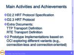 main activities and achievements