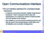 open communications interface