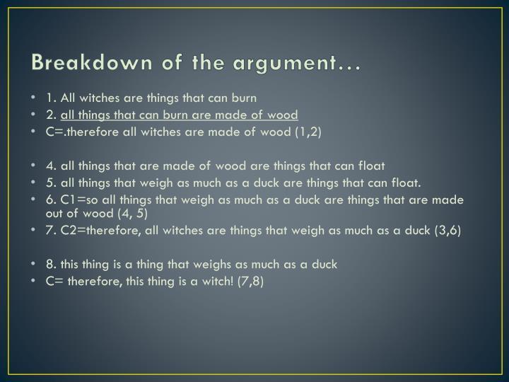 Breakdown of the argument…