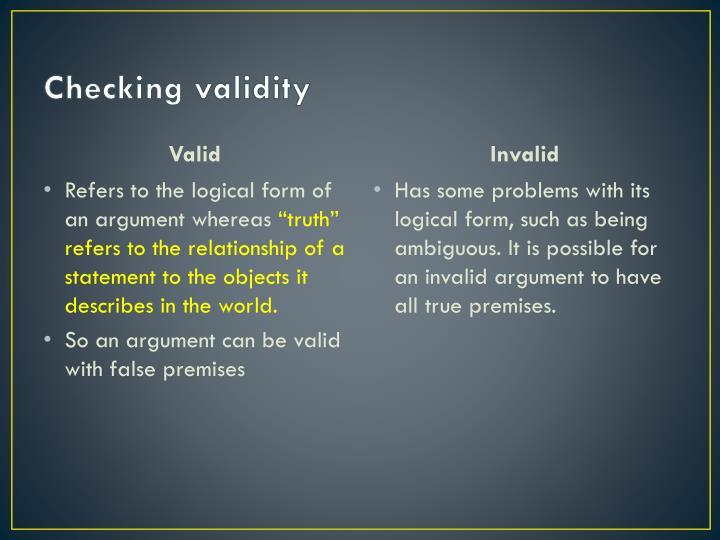 Checking validity