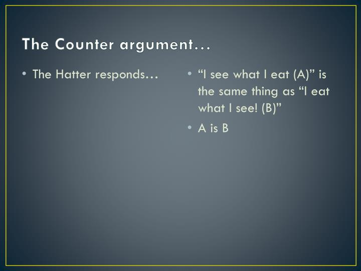 The Counter argument…