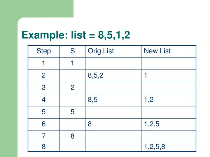 Example: list = 8,5,1,2