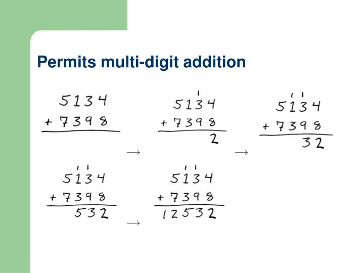 Permits multi-digit addition
