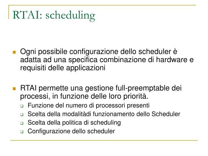 RTAI: scheduling