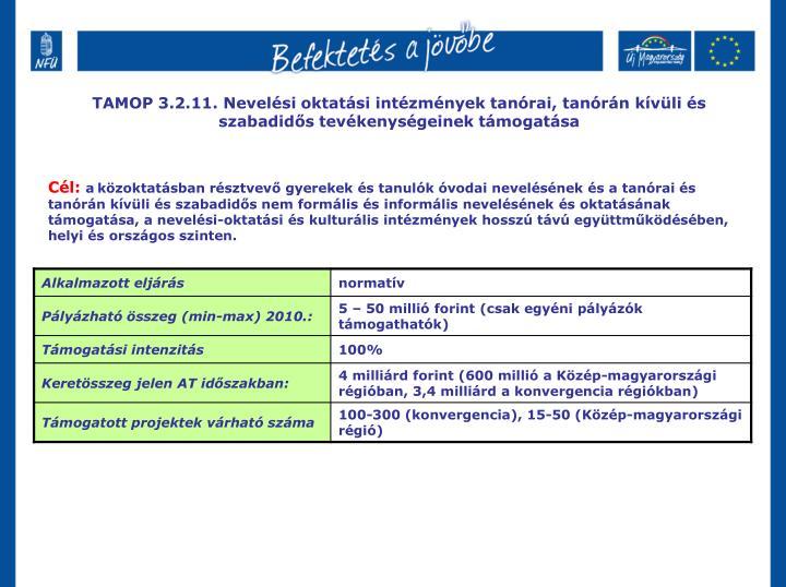 TAMOP 3.2.11. Nevelési oktatási intézmények tanórai, tanórán kívüli és szabadidős tevéke...