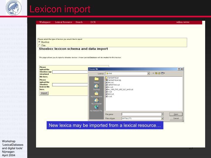 Lexicon import