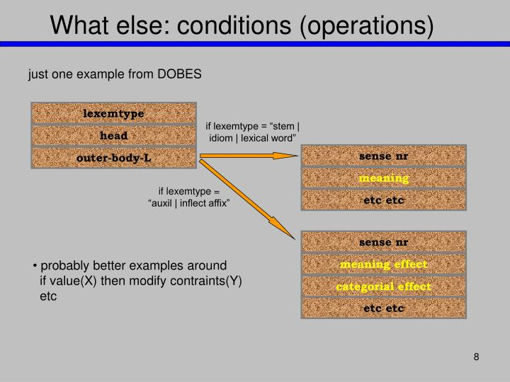 What else: conditions (operations)