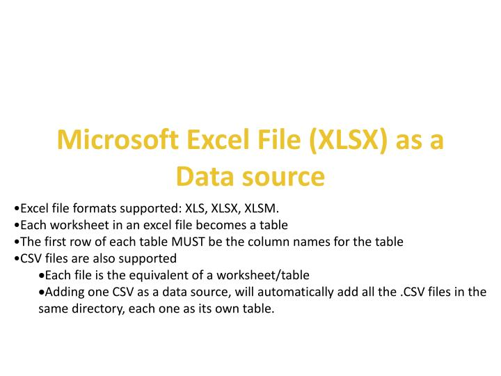 Microsoft excel file xlsx as a data source
